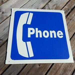 Vintage Phone Booth Sign Plastic Flanged